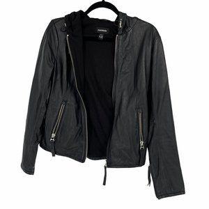 Danier Leather Hoodie sweater lined jacket hood